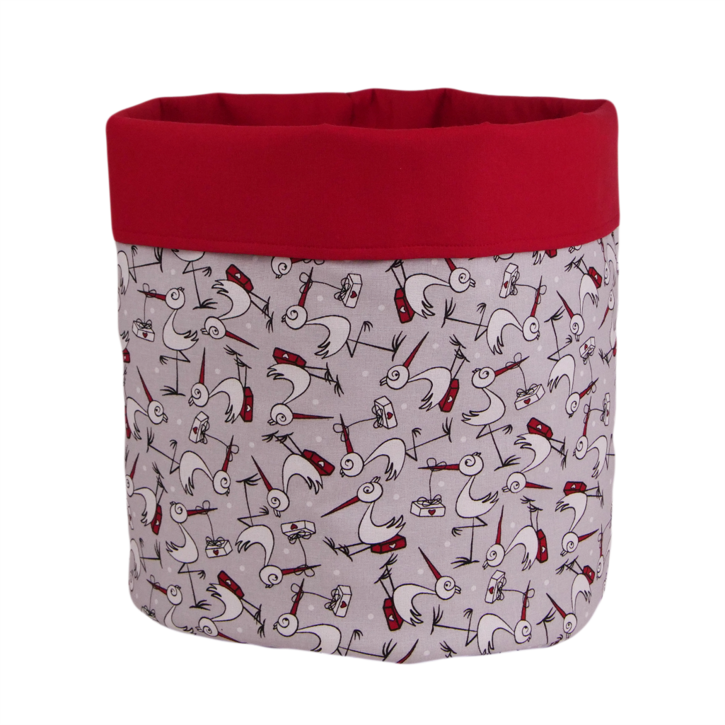 Мішок ( корзина ) для зберігання, Ø35*45 см, (бавовна), з відворотом (чорногуз/червоний)