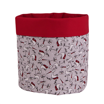 Мешок (корзина) для хранения, Ø35 * 45 см, (хлопок), с отворотом (аист / красный)