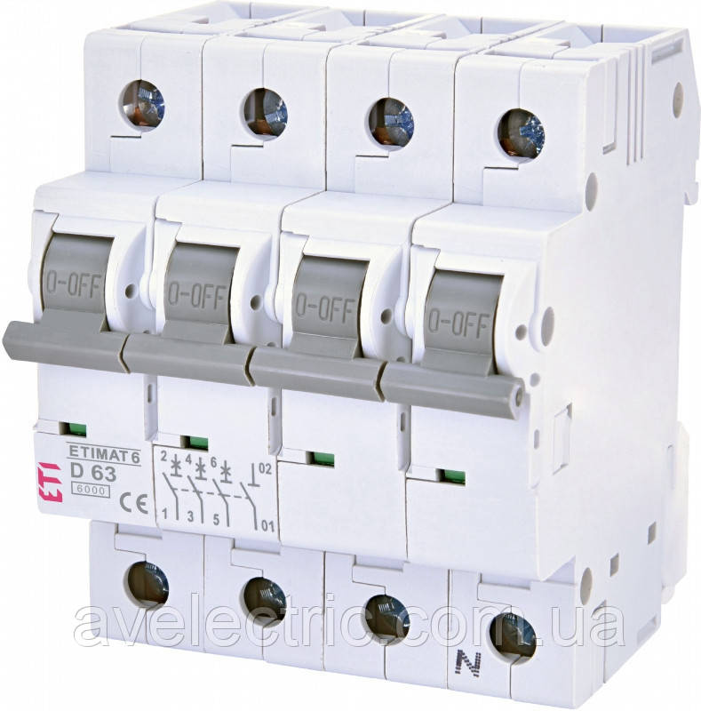 Автоматичний вимикач ETIMAT 6 3p+N D25 ETI, 2166518