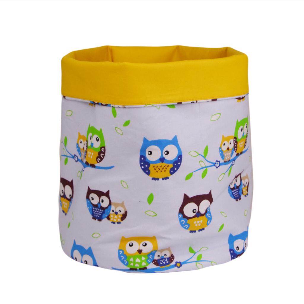 Мешок (корзина) для хранения, Ø35 * 45 см, (хлопок), с отворотом (совушки на голубом / ярко-желтый)