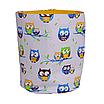 Мешок (корзина) для хранения, Ø35 * 45 см, (хлопок), с отворотом (совушки на голубом / ярко-желтый), фото 2