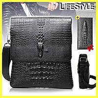 Сумка через плечо Lacoste Aligator / Мужская кожаная сумка + Кошелек Aligator в Подарок!