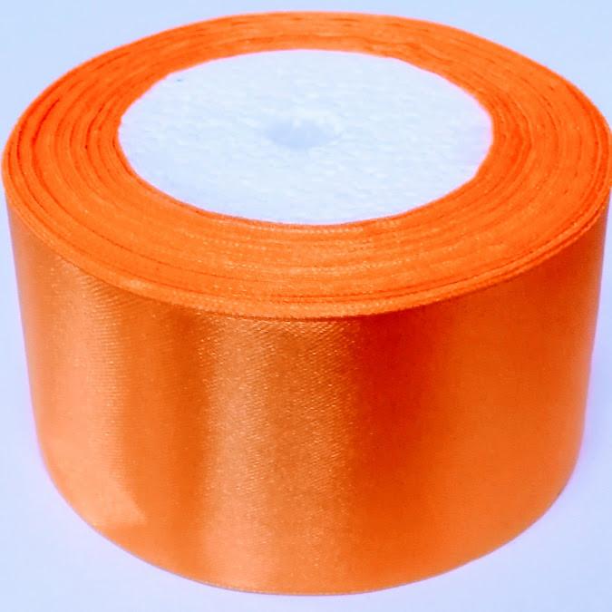 Стрічка атласна 5 см/1м, яскраво-помаранчева
