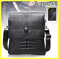 Мужская сумка через плечо Lacoste Aligator + Нож-кредитка в ПОДАРОК!