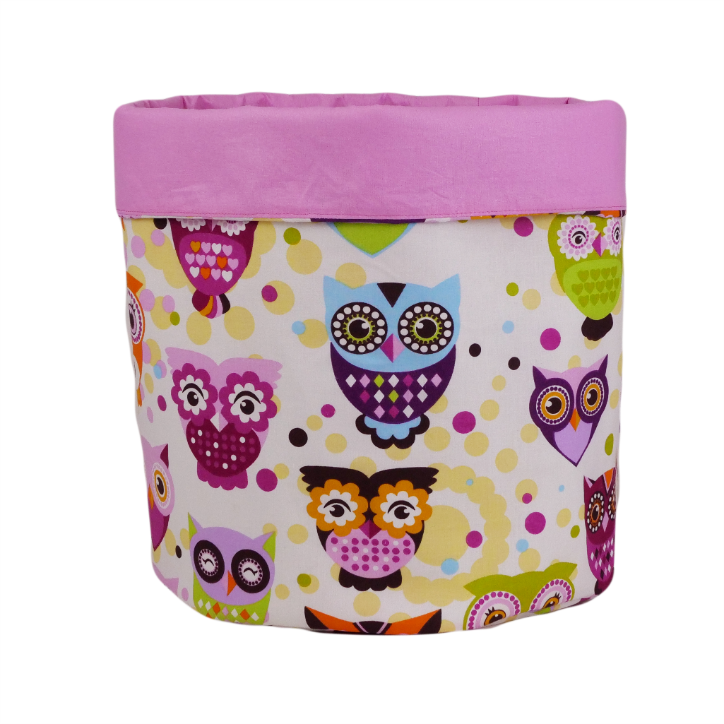Мешок (корзина) для хранения, Ø35 * 45 см, (хлопок), с отворотом (сказочные совы розовые / розовый)