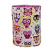 Мешок (корзина) для хранения, Ø35 * 45 см, (хлопок), с отворотом (сказочные совы розовые / розовый), фото 2