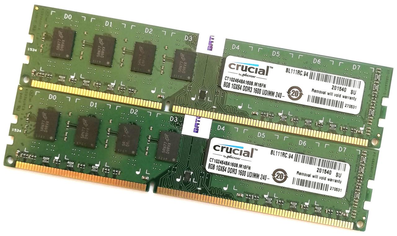 Пара оперативной памяти Crucial DDR3 16Gb (8Gb+8Gb) 1600MHz PC3 12800U 2R8 CL11 (CT102464BA160B.M16FN) Б/У