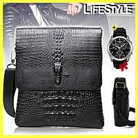 Мужская сумка через плечо Lacoste Aligator + Часы TISSOT в Подарок!