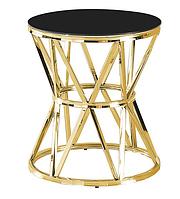 Стол журнальный CH-1 стекло + золото D50*57(H) TM Vetro Mebel