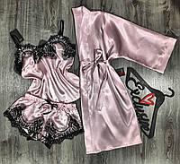 Атласный халат+пижама комплект с кружевом 081-055.