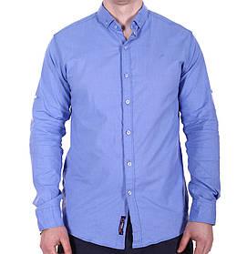 Рубашка однотонная Rigans o0218 синяя S