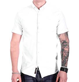 Однотонная рубашка с коротким рукавом Ronex s1018/5 Белая M
