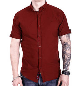 Однотонная рубашка с коротким рукавом Ronex s1018/1 Бордовая XXL
