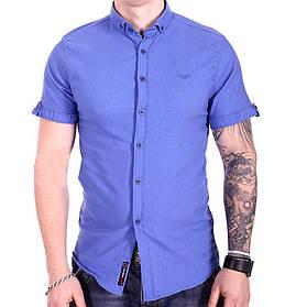 Однотонная рубашка с коротким рукавом Ronex s1018/6 Голубая S