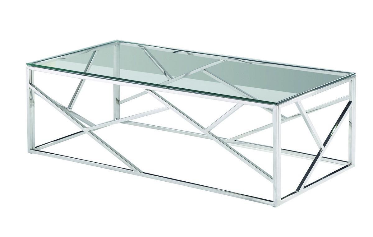 Стіл журнальний CF-1 прозорий, прямокутний, метал срібло