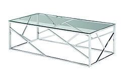 Стіл журнальний CF-1 прозорий, прямокутний, метал, срібло