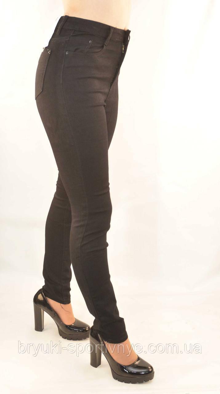 Джинсы женские стрейч в черном цвете на молнии 25 - 30 Джеггинсы черные
