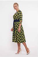 Женское платье расклешенное большого размера 50-56 р горчица