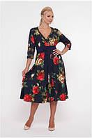 Женское платье расклешенное большого размера 50 р крупные розы