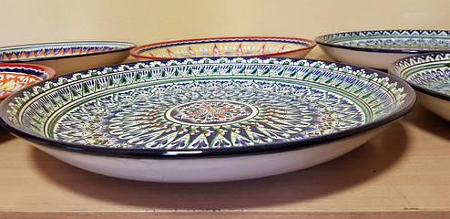 Узбекские ляганы (тарелки) из Риштанской керамики 38см, фото 2