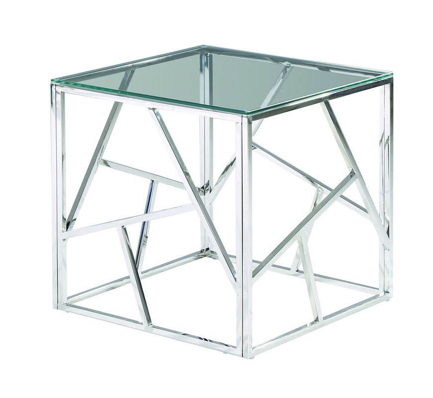 Стол журнальный CF-2прозрачный + серебро