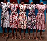 Женское летнее  платье, длина по колено, ткань софт,, р.44-46, 48-50, 52-54, 56-58, 62-64 ,5 расцветок