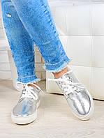 Модные кеды женские натуральная кожа серебро
