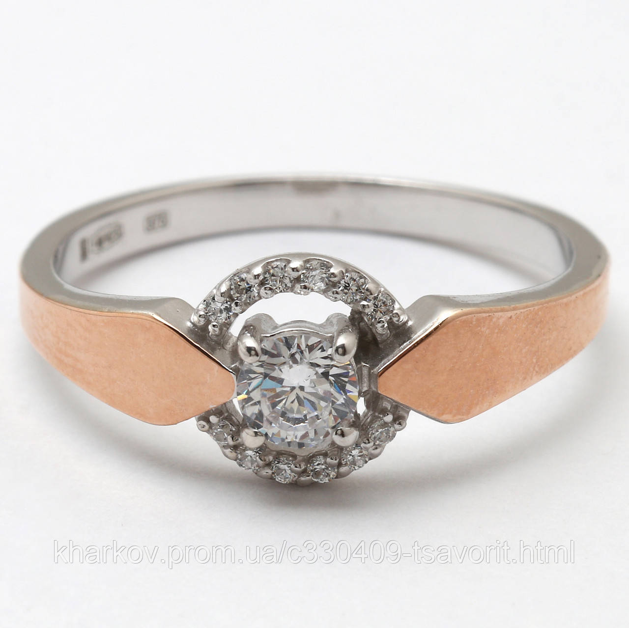 Серебряное кольцо с золотом КЖХ-110