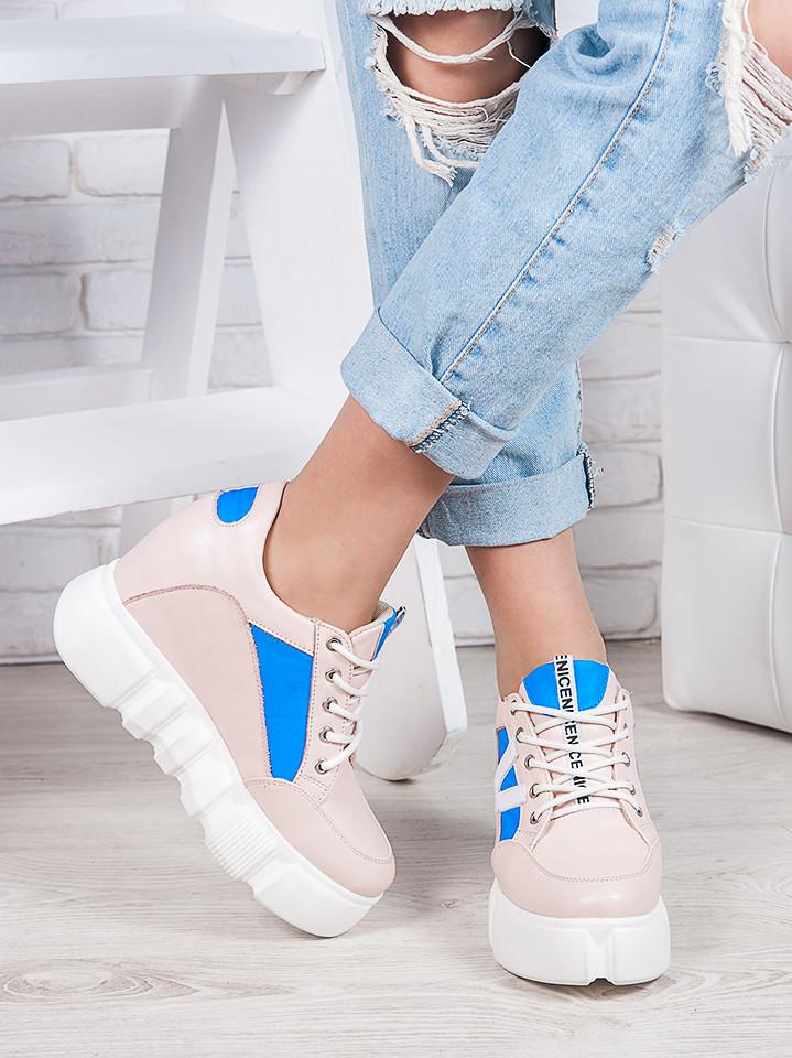 Снікерси кросівки жіночі шкіряні на платформі пудра