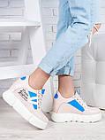 Снікерси кросівки жіночі шкіряні на платформі пудра, фото 2