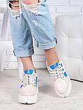 Снікерси кросівки жіночі шкіряні на платформі пудра, фото 3