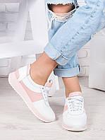 Кроссовки женские кожаные бело - розовые Лола