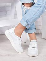 Женские кроссовки кожаные белые Лола