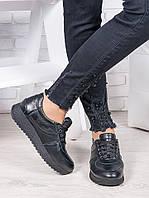 Женские кроссовки кожаные черные Лола