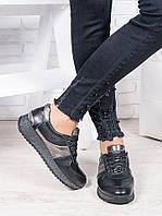 Женские кроссовки кожаные черный графит Лола