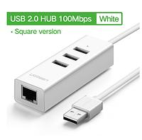 Сетевая карта Ugreen  USB 2,0 Ethernet для Windows 10 подходит к Xiaomi Mi Box 3/S +хаб на 3шт USB 2,0