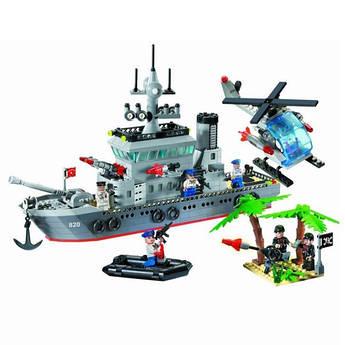 Конструктор типа Лего BRICK 820 военный корабль