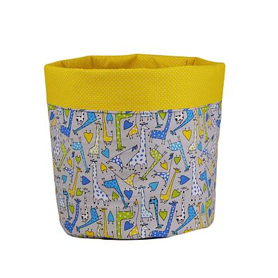Мешок (корзина) для хранения, Ø35 * 45 см, (хлопок), с отворотом (Жирафчики / горох на желтом)