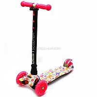 Самокат трехколесный MAXI Best Scooter пластмассовый, 4 колеса PU, СВЕТ d=12см (779-1336)