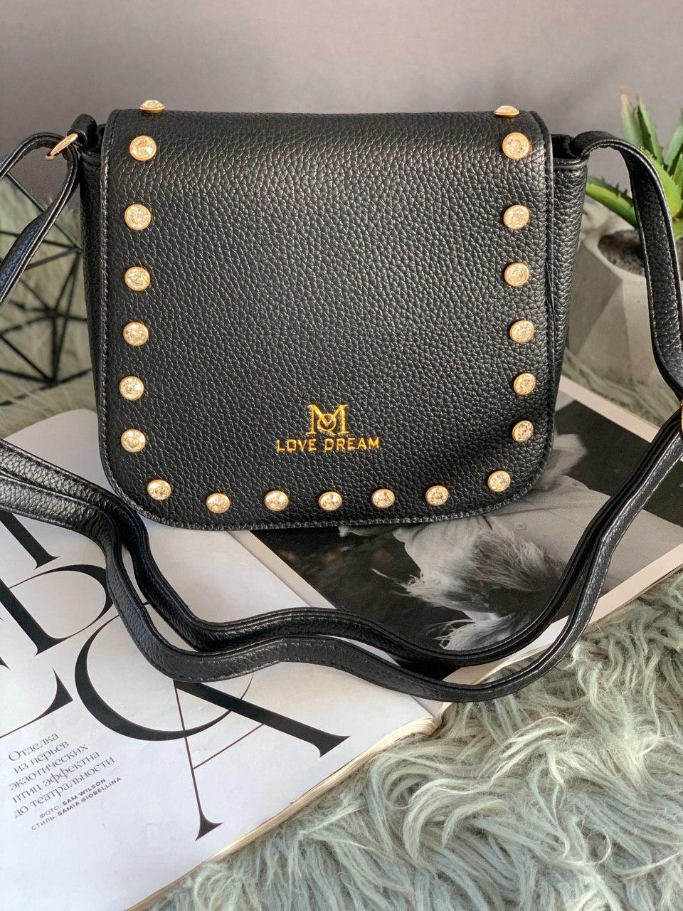 Жіноча чорна сумка з довгим ременем код 7-519