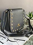 Жіноча чорна сумка з довгим ременем код 7-519, фото 2