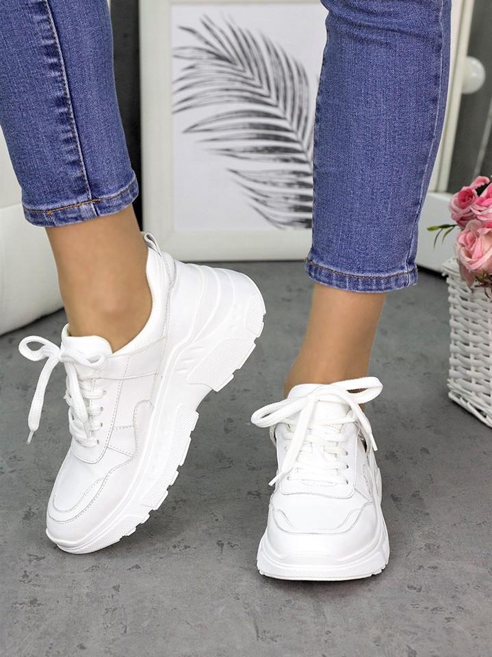 Женские кроссовки кожаные белые в стиле Balenc!aga