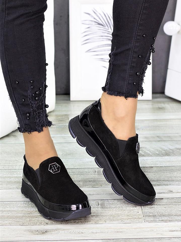 Спортивные туфли лоферы женские замшевые черные