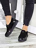 Спортивные туфли лоферы женские замшевые черные, фото 2