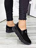 Спортивные туфли лоферы женские замшевые черные, фото 3