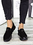 Спортивные туфли лоферы женские замшевые черные, фото 4