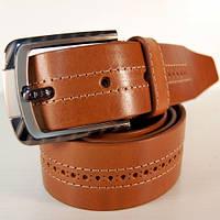 Ремень кожаный мужской JK светло-коричневый (2979)
