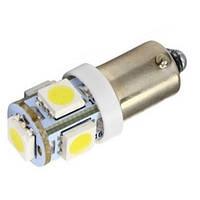 2x LED BA9S T4W лампа в автомобиль, 4+1 SMD 5050, белый