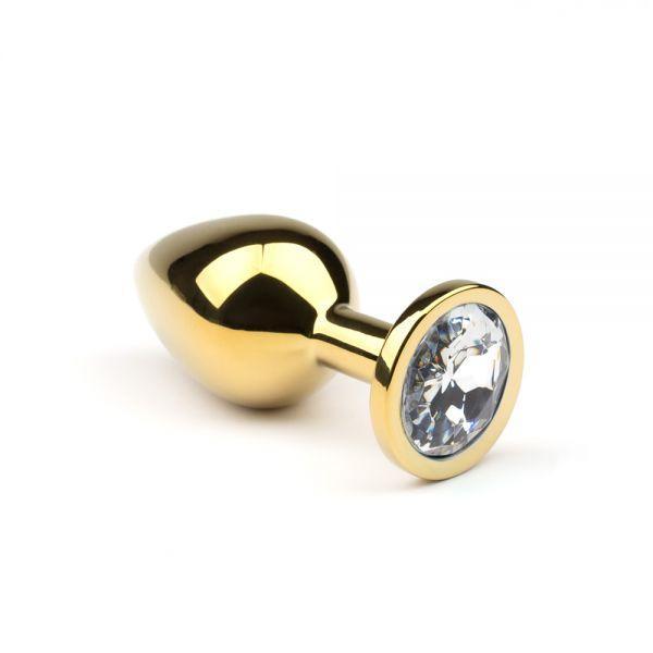 Металлическая анальная пробка  Gold Diamond  размер: L  CRYSTAL