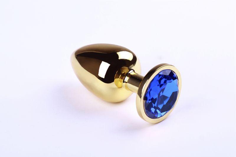 Анальная пробка из металла  Gold Sapphire  размер: L  CRYSTAL